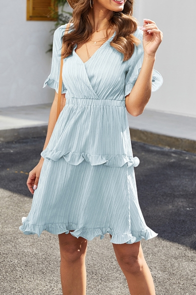 Womens Pretty Solid Color Stripe Print Ruffle Tiered Decoration Short Sleeve V-Neck Mini A-Line Dress