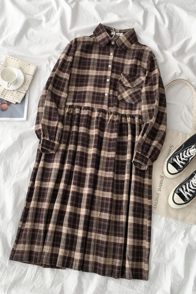 Casual Basic Girls' Long Sleeve Lapel Collar Plaid Pattern Button Front Mid Pleated Swing Dress in Brown