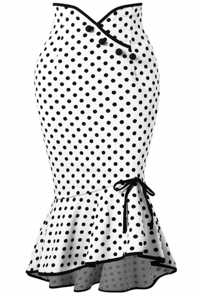 Cute Fashion High Waist Button Front Bow Tie Side Polka Dot Print Ruffle Trim Asymmetric Hem Midi Bodycon Fishtail Skirt for Women, Black;white, LM584827