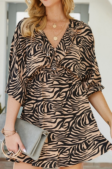 Khaki Casual Zebra Stripe Print 3/4 Length Sleeves V-Neck Hollow Out Back Ruffle Hem Mini A-Line Dress