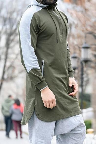 Street Fashion Color Block Long Sleeves Zipper Front Side Split Longline Hoodie for Men