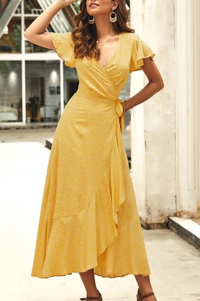 Women's Stylish Fancy Short Sleeve Surplice Neck Bow Tie Waist All Over Floral Printed Maxi Wrap Flowy Dress