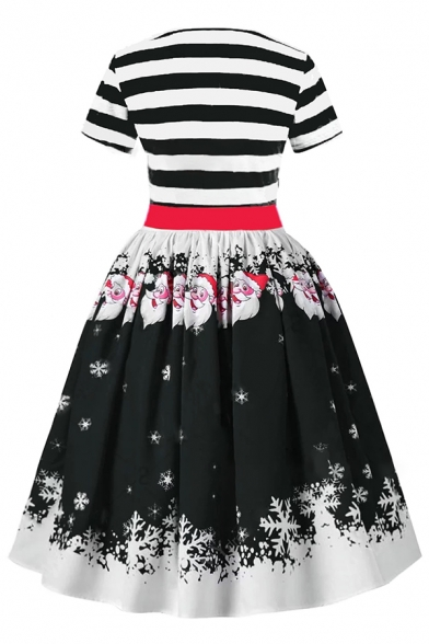Cute Girls' Short Sleeve V-Neck Ruched Front Bow Tie Waist Santa Claus Pattern Midi Pleated Swing Christmas Dress