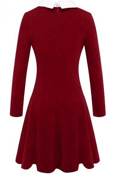 Formal Retro Long Sleeve Lapel Neck Zipper Back Plain Midi Pleated A-Line Dress for Female
