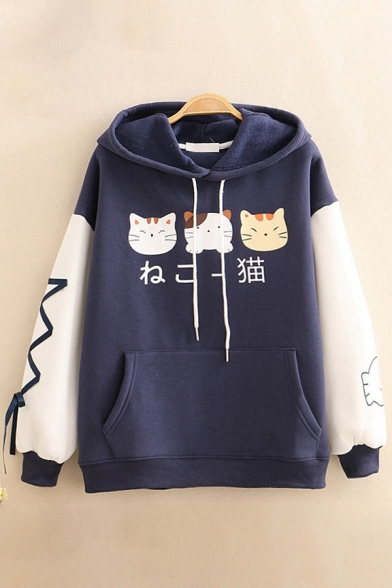 Preppy Style Japanese Letter Cats Printed Lace Up Colorblocked Long Sleeves Loose Fit Thick Hoodie