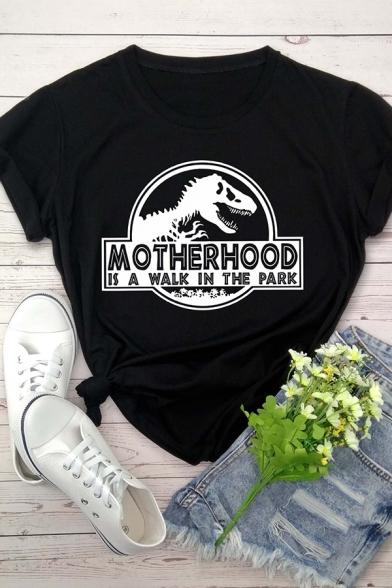 Funny Dinosaur Letter MOTHERHOOD Printed Short Sleeves Round Neck Graphic T-Shirt