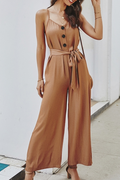 Glamorous Ladies' Solid Color Sleeveless Button Front Bow Tie Waist Wide Leg Cami Jumpsuit