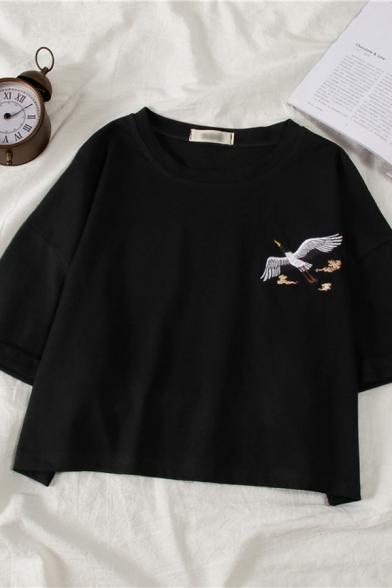 Hot Popular Crane Pattern Short Sleeves Round Neck Summer T-Shirt