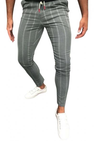 Men's Popular Drawstring Waist Stripe Print Skinny Fit Pencil Pants