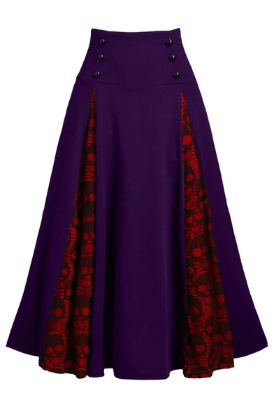 Retro Unique High Rise Button Detail Skull Printed Patched Long Pleated A-Line Skirt for Female, Black;green;purple, LM584829