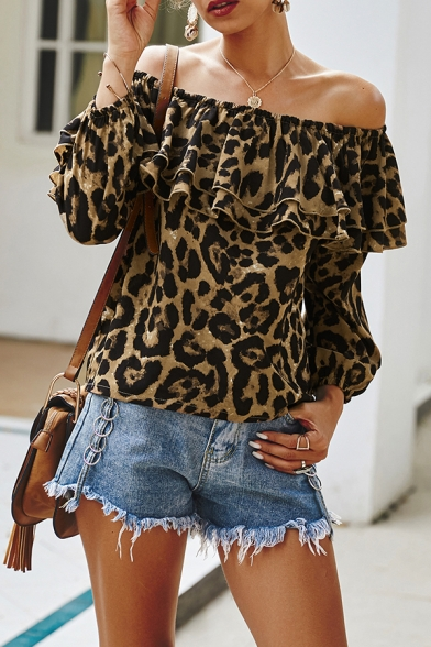 Creative Female Long Sleeve Off the Shoulder Leopard Patterned Relaxed Fit Blouse Top