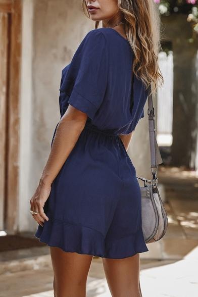 Elegant Ladies' Plain Short Sleeve Round Neck Tied Waist Relaxed Fit Jumpsuit