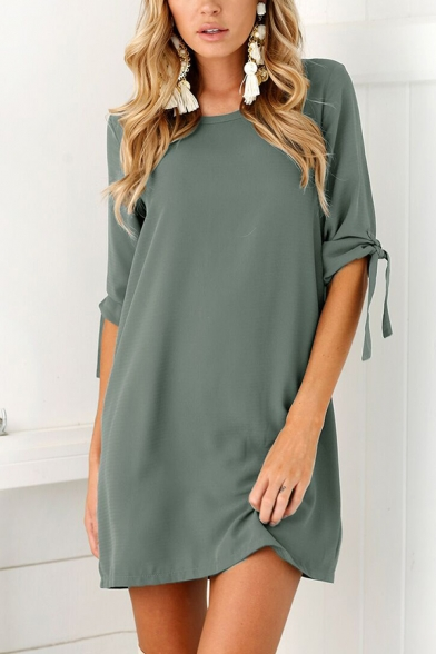 Solid Color Drawstring 3/4 Length Sleeve Round Neck Mini Shift Dress for Women