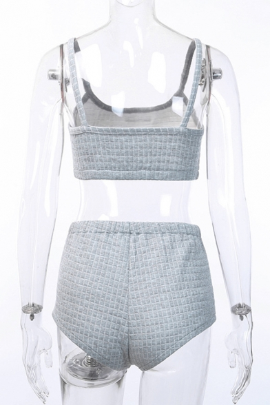 Womens Sexy Letter Printed Crop Cami Tank with Checked Embossed Shorts Gray Leisure Co-ords