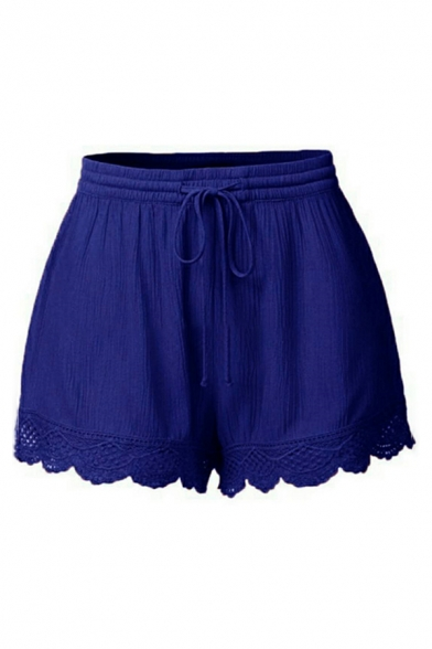 Casual Plain Drawstring Waist Lace Trim Wide Leg Shorts for Girls
