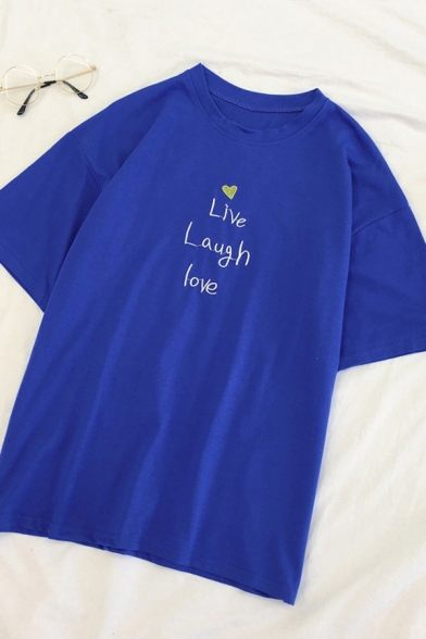 Preppy Stylish Letter LIVE LAUGH LOVE Printed Short Sleeves Relaxed Fit Summer T-Shirt LM587912 фото
