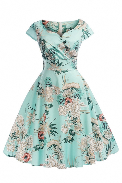 Retro Women's Short Sleeve Surplice Neck All Over Floral Printed Midi Pleated Swing Dress