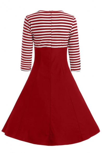 Cute Fancy Girls' Three-Quarter Sleeve Lapel Neck Button Front Stripe Patched Long Swing Dress