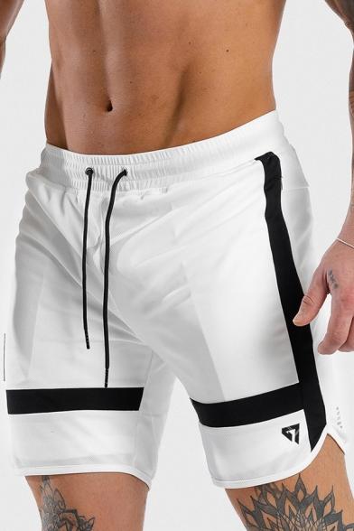 Fashionable Color Blocked Stripe Patchwork Drawstring Waist Arc Hem White Gym Shorts