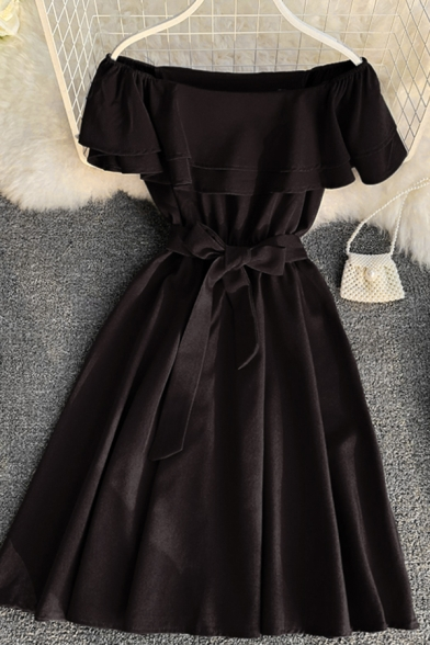 Formal Plain Short Sleeve Off Shoulder Bow Tie Waist Short Pleated A-Line Dinner Dress for Ladies