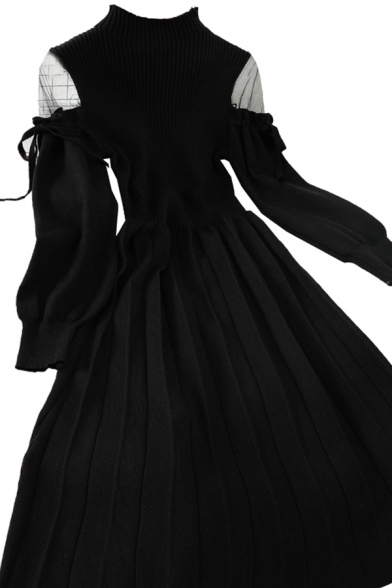 Glamorous Girls' Long Sleeve Cold Shoulder Bow Tie Knit Maxi Plain Pleated A-Line Dress
