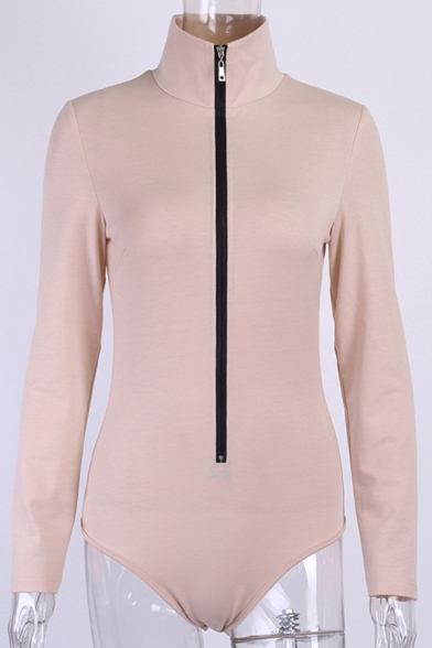 Women's Elegant Long Sleeve Lapel Collar Slim Fit Zipper Bodysuit