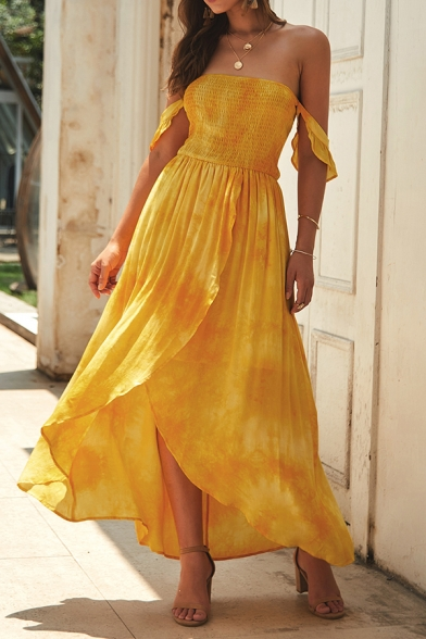 Amazing Women's Off the Shoulder All Over Floral Printed Pleated Long Wrap Flowy Dress