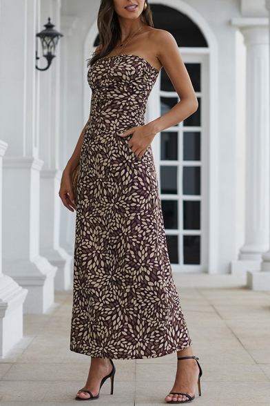 Beautiful Women' Sleeveless Strapless All Over Floral Printed Maxi A-Line Tube Dress, Black;orange;red, LM594127