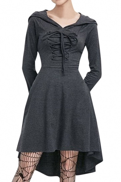 Dark Gray Lace-Up Gathered Waist Long Sleeve High Low Hemline Mini A-Line Hooded Dress