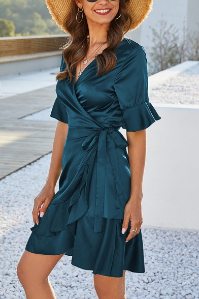 Gorgeous Plain Surplice Neck Short Sleeve Tie Side Ruffle Trim Mini Wrap Dress