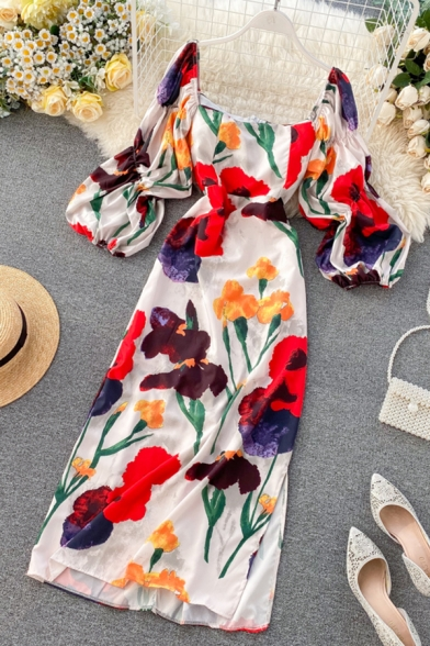 Pretty Girls' Blouson Sleeve Square Neck All Over Floral Print Maxi A-Line Dress in White