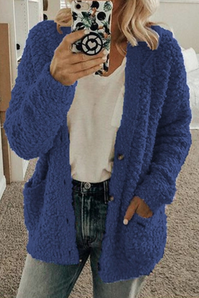 Thickened Long Sleeve Button Front Pockets Side Shearling Fleece Relaxed Plain Coat for Women