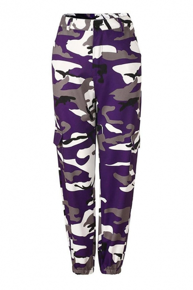 Cool Street Girls' Elastic Waist Camo Print Flap Pockets Cuffed Ankle Cargo Pants