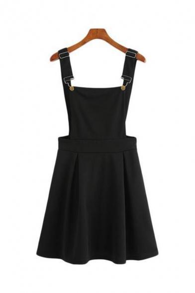 Girls Simple Plain Black Adjustable Straps Open Back Casual Pinafore Dress