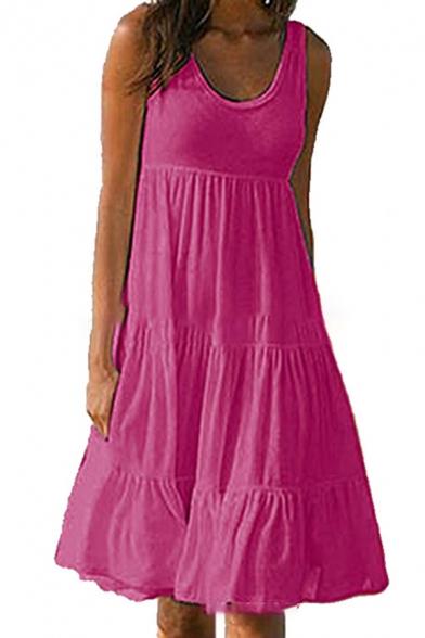 Whole Colored Sleeveless Midi Swing Beach Dress for Ladies