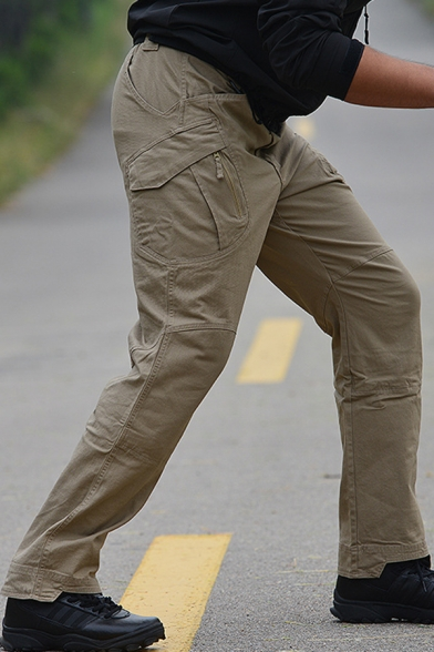 Military Style Whole Colored Side Pockets Wide Leg Trousers Cotton Casual Pants