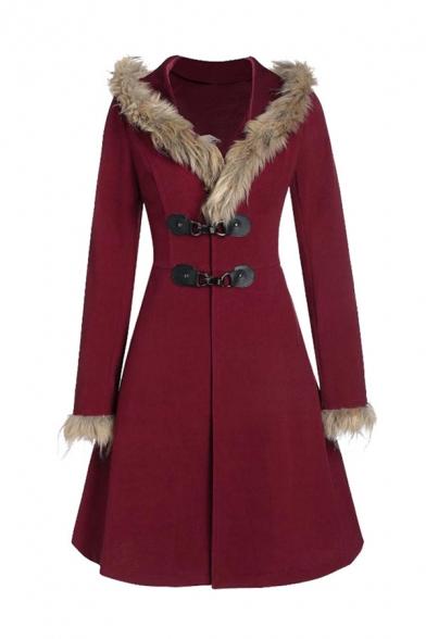 Winter Fashion Long Sleeve Alloy Leather Buckle Long Sleeves Fur Trim Longline Hooded Wool Coat