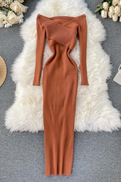 Elegant Ladies' Long Sleeve Off The Shoulder Cross Front Knit Maxi Plain Shift Dress
