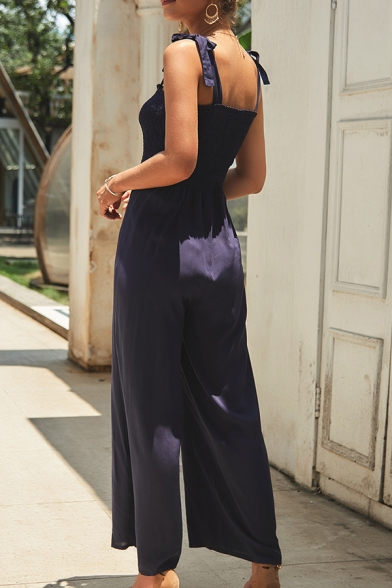 Formal Elegant Sleeveless Bow Tie Shoulder Pleated Solid Color Long Jumpsuit for Ladies