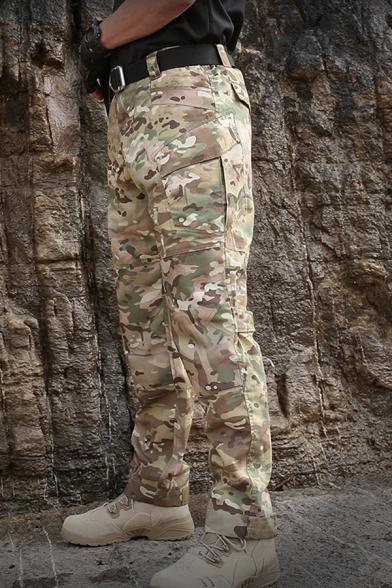 Men's Fashion Camo Pattern Multi Pocket Straight Fit Zipper Tactical Pants