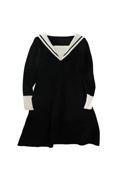 Unique Fashion Girls' Long Sleeve Sailor Collar Contrasted Knit Short A-Line Dress in Black