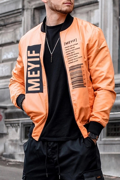 Classic MEYIF Letter Printed Stand Collar Long Sleeves Zipper Placket Loose Casual Jacket