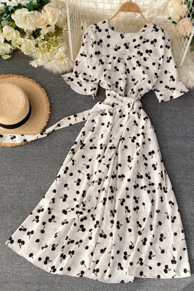 Gorgeous Girls' Short Sleeve V-Neck All Over Floral Printed Tied Waist Maxi Pleated A-Line Dress