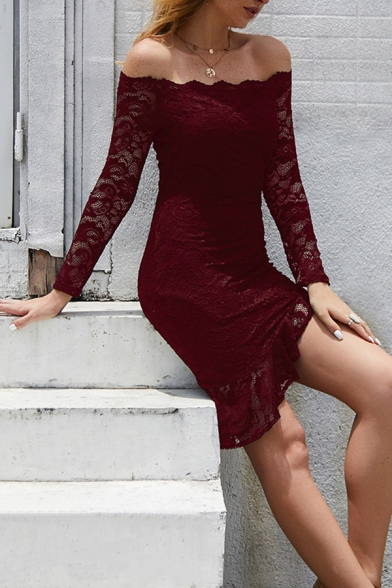 Ladies Sexy Lace Panel Long Sleeve Off Shoulder Asymmetric Hem Solid Color Mini Fitted Gown Dress