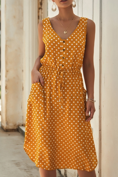 Ladies Sexy Polka Dot Printed V-neck Sleeveless Button Front Drawstring Waist Midi Tank Dress with Dual Pocket