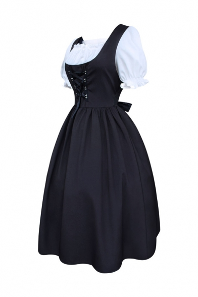 Medieval Puff Sleeve Lace-Up Front Bowknot Embellishment Black and White Midi Flared Dress