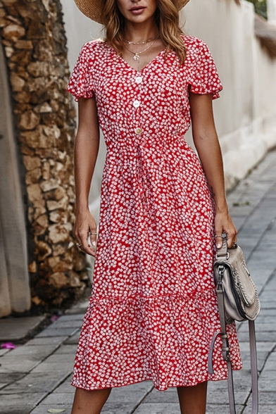 Pretty Ladies' Short Sleeve V-Neck Button Front All Over Flower Print Ruffled Maxi A-Line Dress