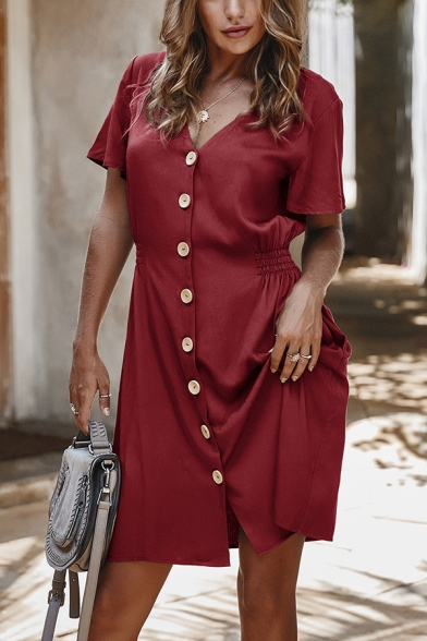 Solid Color Short Sleeve V-Neck Button Down Gathered Waist A-Line Commuting Dress for Women