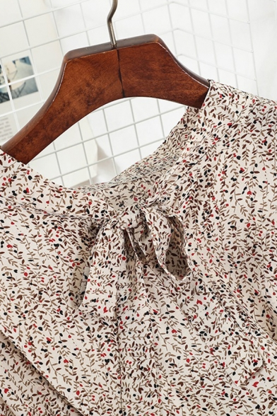 Fancy Ladies' Long Sleeve Bow Tie Collar All Over Floral Printed Bow Tie Waist Midi A-Line Dress