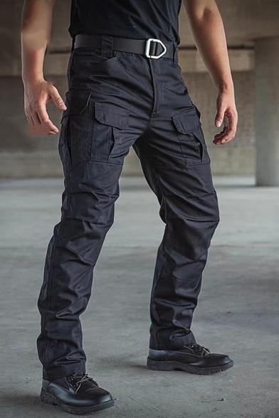 Men's Classic Plain Camouflage Print Zip Placket Straight Pants Outdoor Sport Trousers